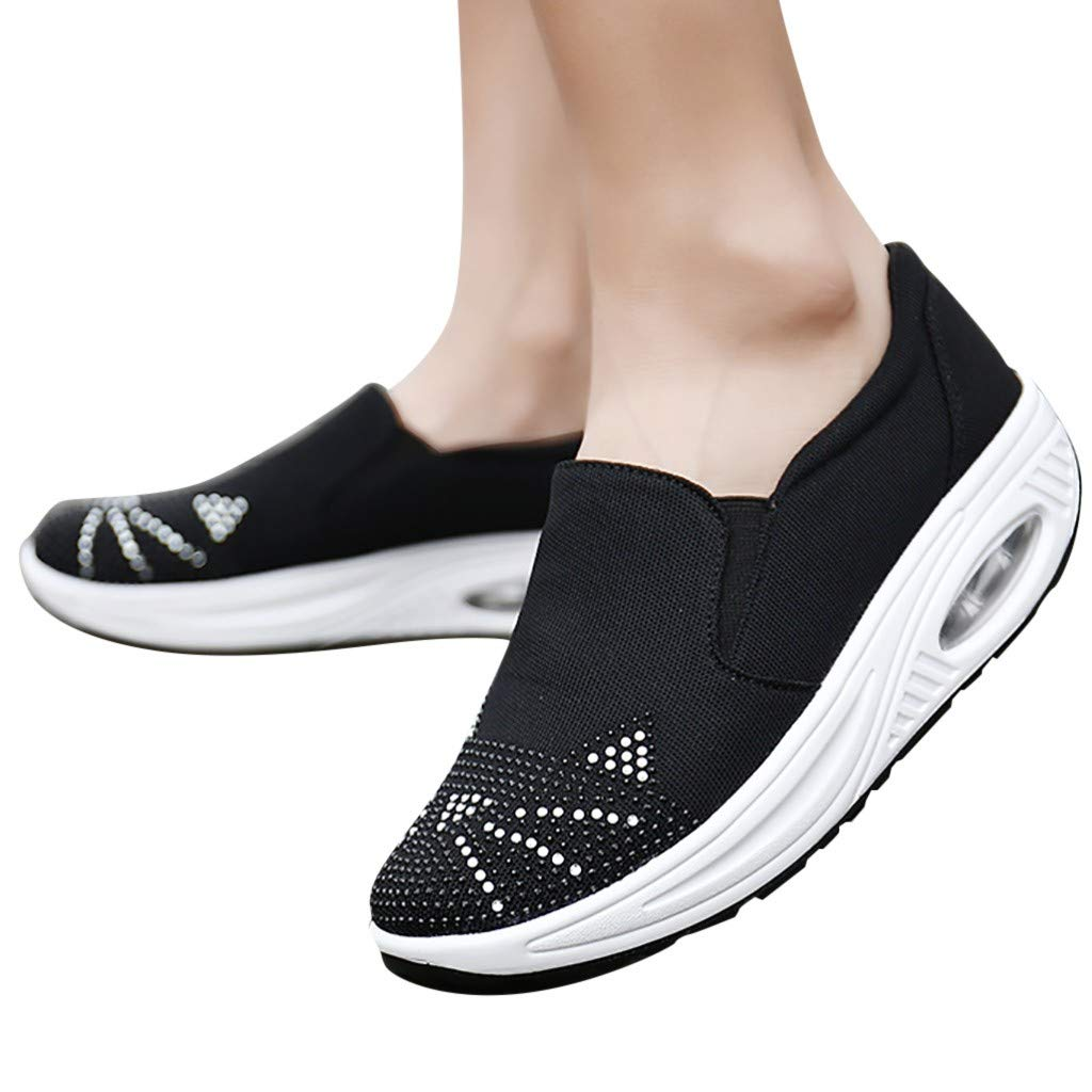 Women's Platform Wedges Sports Shoes Rhinestone Cushion Slip On Thick Bottom Shoes with Comfort Soft Sole Walking Shoes (Black, US:5) by Sinaou Women Shoes (Image #2)