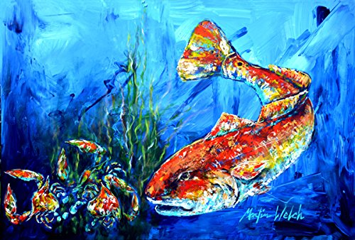 Caroline 's Treasures mw1214plmt Scatteredレッド魚ファブリックプレースマット,マルチカラー   B01K3DPIS2