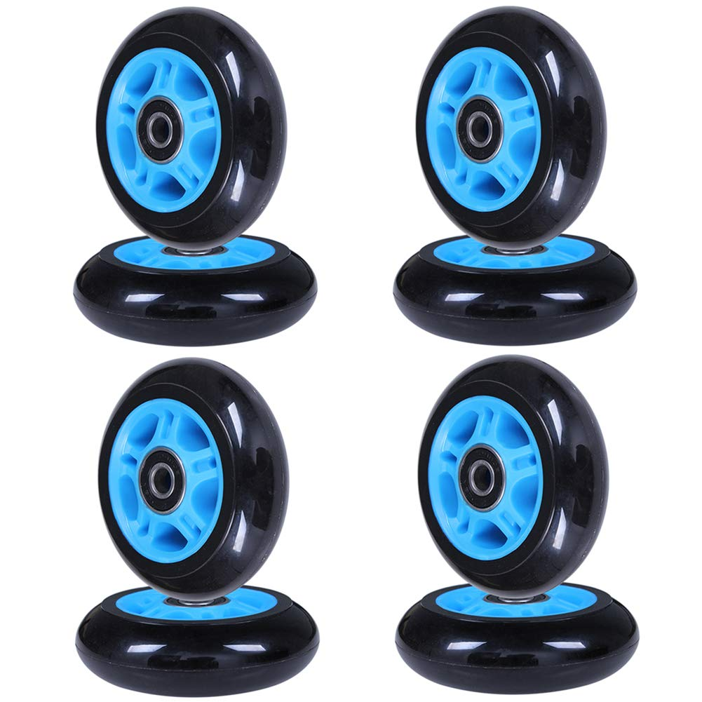 AOWISH 8-Pack 80mm Inline Skate Wheels 85A Inline Skates Replacement Wheel with Bearings ABEC-9 (Blue Hub Black Wheel) by AOWISH