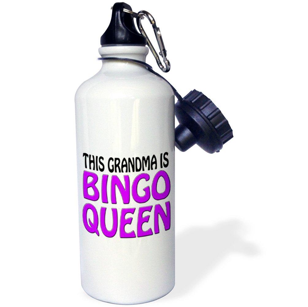 3dRose wb_149773_1 This Grandma Is Bingo Queen, Purple, Sports Water Bottle, 21 oz, White by 3dRose