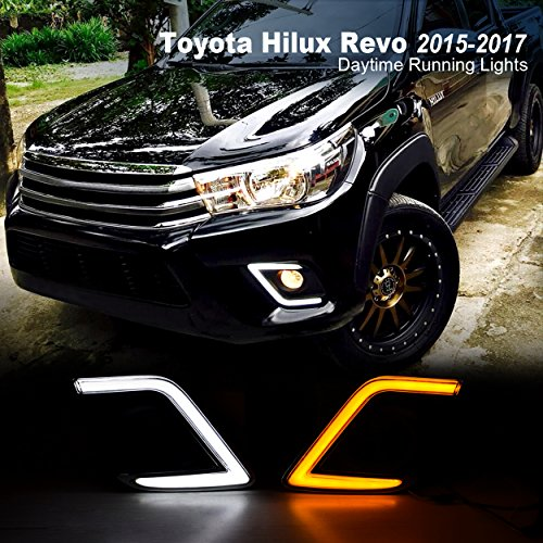For Toyota Hilux Revo 2015-2017 Replacement Update C-Type OEM Fog Light Cover LED DRL Daytime Running Lights with Yellow Turn Signal Directions Lights Driving Fog Lamps - Revo Price