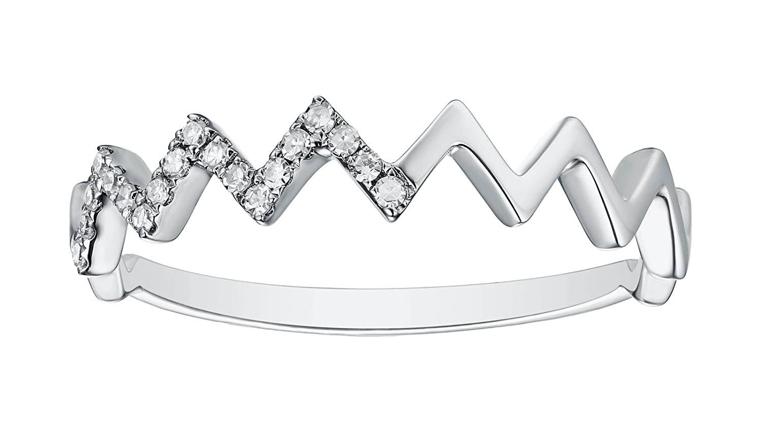 Prism Jewel Natural G-H//I1 Round Diamond Delicate Stackable Ring 10K Gold