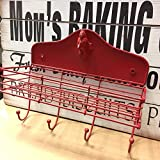 Sweet Home at Barter Post Red Metal Rooster Shelf with x4 Hanging Hooks – Country Kitchen & Home Decor