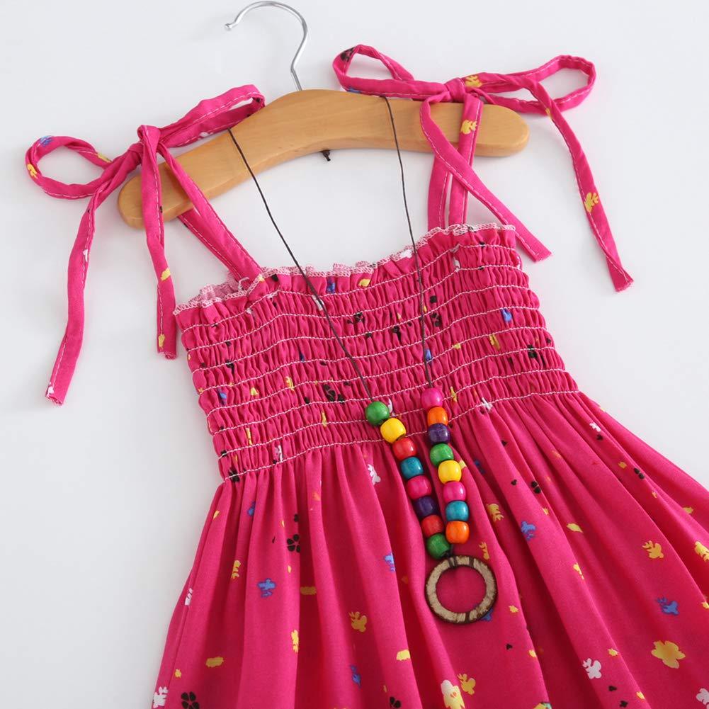 Miyanuby Vestito Bambina Senza Maniche Stampa Floreale Spiaggia Vestito Abiti Bambina Estivi Boemia Sundress