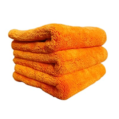 Super Plush Microfiber Auto Detailing Towel, 1200 GSM Professional 70/30 Blend, 16 in. x 16 in, Orange (3pack): Automotive