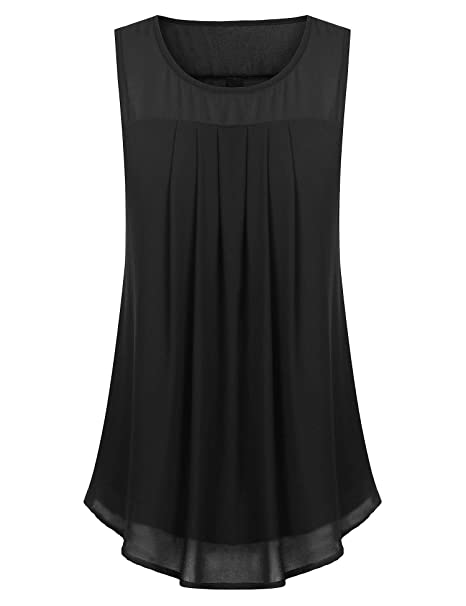 SUNAELIA Women Ruched Chiffon Tank Tops for Women Fall Solid Sleeveless  Tunic Blouse Shirt Plain Basic 6923874f4