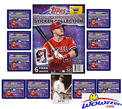 2017 Topps MLB Baseball Stickers Special Collectors Package with 10 Factory Sealed Packs, 32 Page Album & Babe Ruth Card! Includes Total of 86 New Stickers! Look for all your Favorite Stars! WOWZZER!