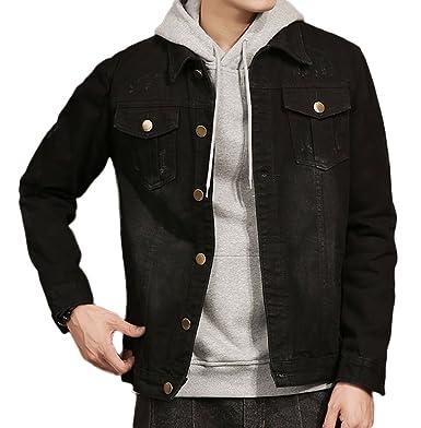 241847b7b2fb Plaid Plain Men s Black Jean Jacket Slim Fit Distressed Denim Jacket ...