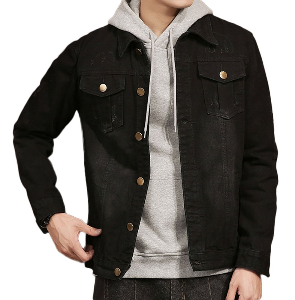 Plaid&Plain Men's Black Jean Jacket Slim Fit Distressed Denim Jacket Black S by Plaid&Plain