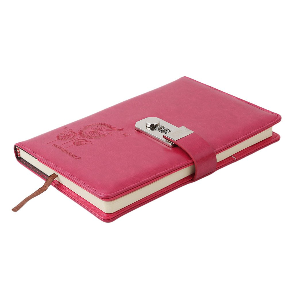 Meolin Leather Notebook Personal Diary with Code Lock Paperback Notepad Paper Office School Supplies Gift,red,8.665.710.79inch by Meolin (Image #4)