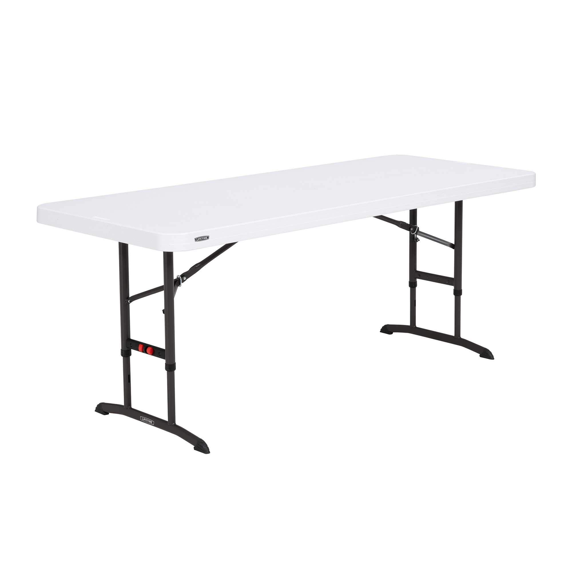 Lifetime 80752 Commercial Adjustable Height Folding Table, 6-Foot, White Granite by Lifetime