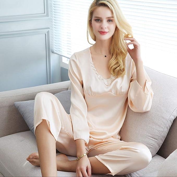 Plain Womens Silk Pajamas Set 19Mm Plain Crepe Satin Home