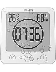 Soddyenergy LCD Numérique Horloge De Douche, Horloge De Salle De Bains Imperméable Douche Horloge Minuterie Température Humidité Mur Douche Horloge Cuisine Minuteur (White)