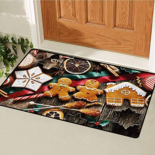 GUUVOR Gingerbread Man Commercial Grade Entrance mat Delicious Homemade Cookies Dried Fruits and Bakery Tools Festive Rustic for entrances garages patios W47.2 x L60 Inch Multicolor ()