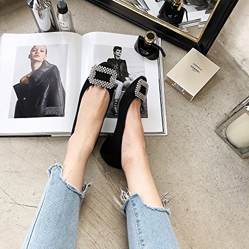 DHG Las Zapatillas de Ballet de Hebilla de Taladro Poco Redondas de Primavera y Verano Trabajan con Zapatos Planos,UN,40