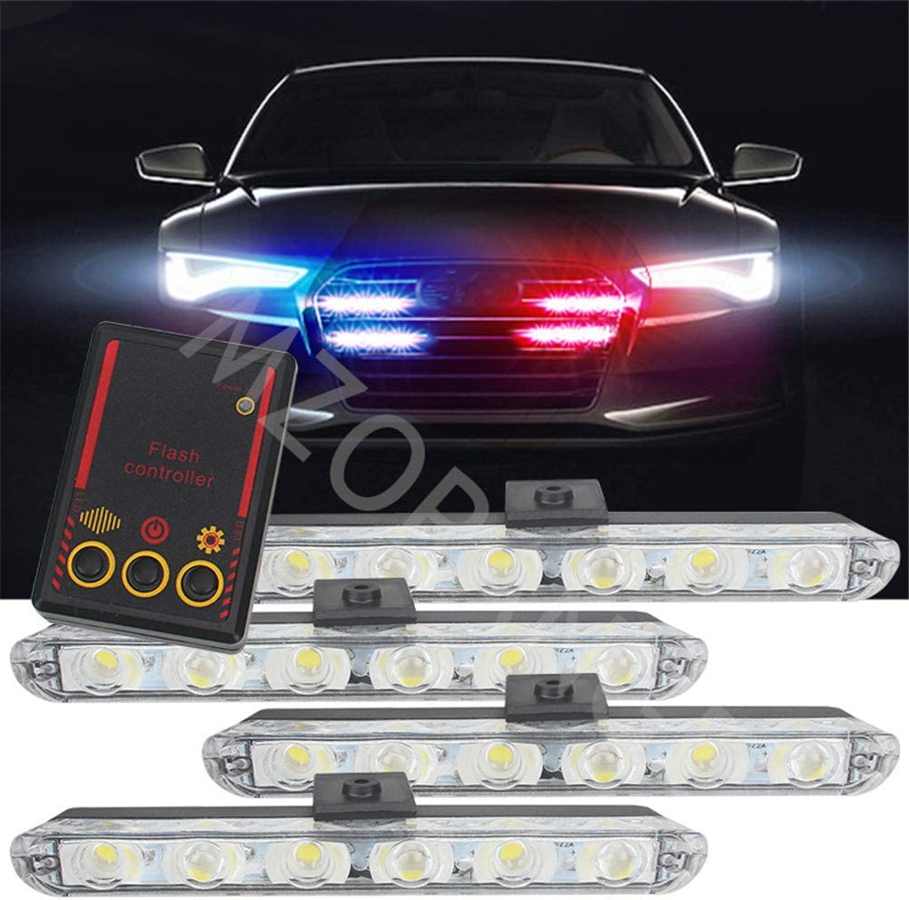 Clidr Car Truck Emergency Light Flashing Firemen Lights 4x6 Led Car-Styling Ambulance Police Light Strobe Warning Light DC 12V Red /& Blue