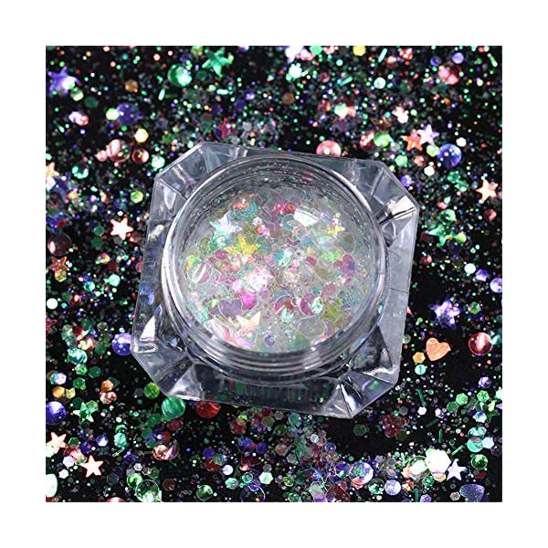 NICOLE DIARY 5 Boxes Holographic Nail Sequins Iridescent Flakes Colorful Glitter Manicure Nail Art Design Make Up DIY Decals Decoration 11