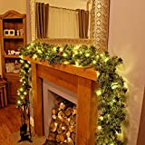 Garden Mile® DELUXE X-LARGE THICK 9FT LUXURY PRE LIT DECORATED CHRISTMAS DECORATIVE GARLAND WITH 50 WARM WHITE LEDs AND ACORNS THROUGHOUT 2.7m LONG