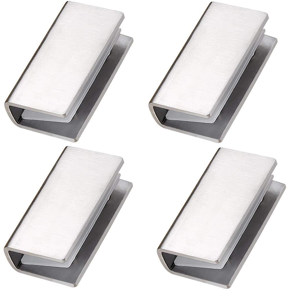 4 x Polished Chrome Glass Shelf Support Clamp Brackets Bathroom for Shelves Large