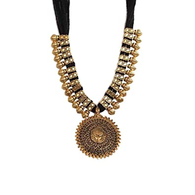 6380841bf4 Buy Kaizer Jewelry Handmade Oxidised German Silver Gold Tone Thread Necklace  For Women (Black-Durga) Online at Low Prices in India | Amazon Jewellery  Store ...