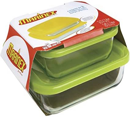 Marinex 4 Piece Square Bake Dish Set With Plastic Covers Colors May Vary Amazon Co Uk Kitchen Home