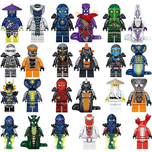 (SED New 24pcs NinjagoINGlys Ninja Master Wu Kai Jay Cole Zane Lloyd Pythor Snake Blocks Gift Kids Toys LELE 31035 Movie People)