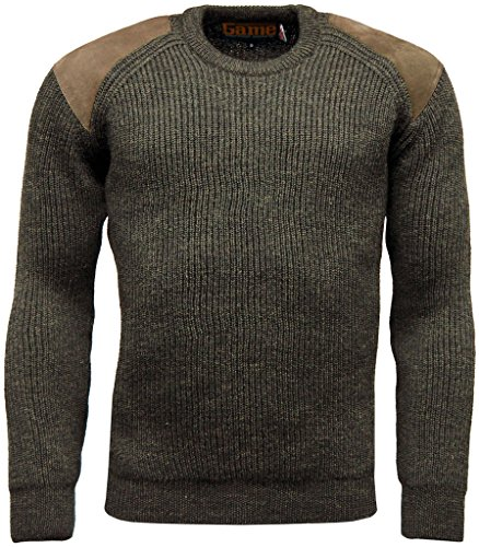 Mens Game Heavy Knit 100% British Wool Country Shooting Hunting Jumper Sweater Wool Hunting Clothes