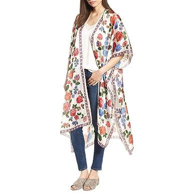 e0e1cdc0c6c77 Image Unavailable. Image not available for. Color  Women s Plus Size Floral  Print Boho Style Kimono Sheer Chiffon Loose Cardigan ...