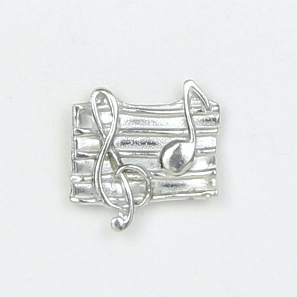 Music Lover's Scarf Pin with Magnetic Back Closure - No holes in Clothes - Handcrafted Pewter Made in USA