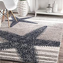 4' x 6' Starfish Coastal Beach Ocean Decorative Stripes Grey Blue Area Rug, Polypropylene Modern Contemporary Star Fish Animal Sea Nautical, Indoor Rectangle Living Dining Room Bedroom Accent Carpet