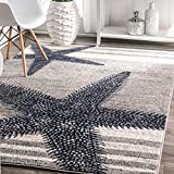 4' x 6' Starfish Coastal Beach Ocean Decorative Stripes Grey Blue Area Rug, Polypropylene Modern Contemporary Star Fish Animal Sea Nautical, Indoor Rectangle Living Dining Room Bedroom Accent Carpet
