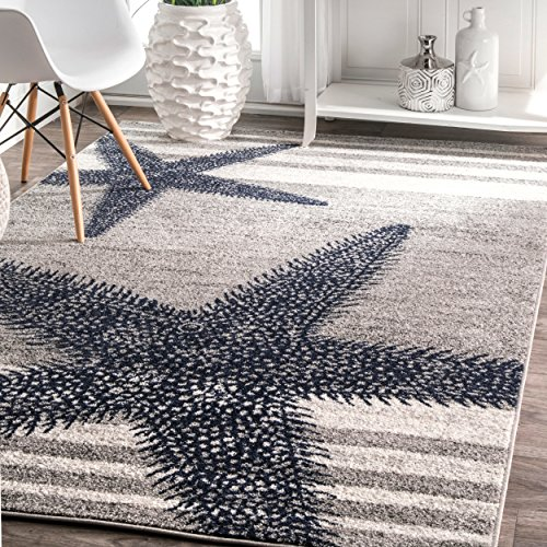 4' x 6' Starfish Coastal Beach Ocean Decorative Stripes Grey Blue Area Rug, Polypropylene Modern Contemporary Star Fish Animal Sea Nautical, Indoor Rectangle Living Dining Room Bedroom Accent Carpet by MI