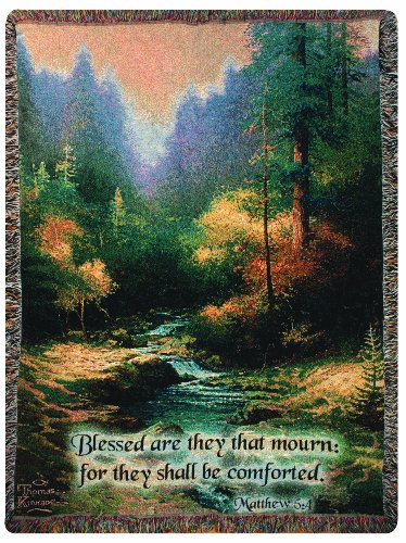 Manual Thomas Kinkade 50 x 60-Inch Tapestry Throw with Verse, Creekside (Thomas Kinkade Bible Cover)