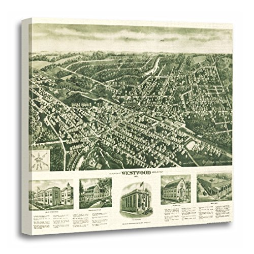 TORASS Canvas Wall Art Print Location Westwood Nj Panoramic Map United Artwork for Home Decor 20