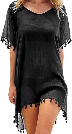 Adreamly Women S Stylish Chiffon Tassel Kaftan Swimsuit Beachwear Cover Up Free Size Black At Amazon Women S Clothing Store