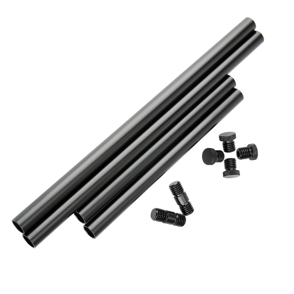 NICEYRIG 15mm Rod with M12 Thread Rod Cap Rod Connector to Extend to 50cm Rod for 15mm Shoulder Pad Rig Support System
