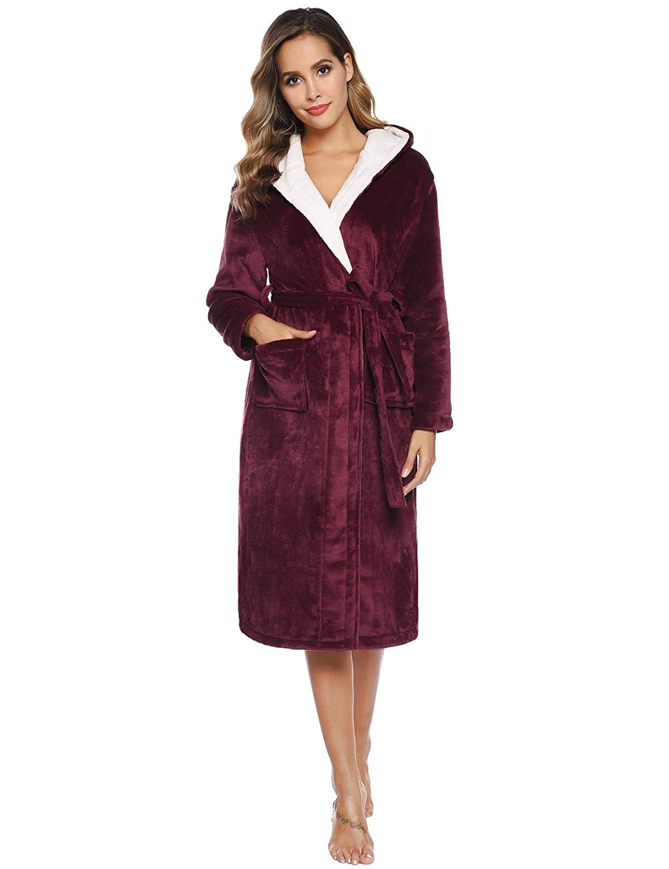Abollria Coral Fleece Bathrobe,Ladies Luxurious Bath Robe Dressing Gown Wrap Housecoat Bathrobe Warm Soft /& Cosy Dressing Gown for Women