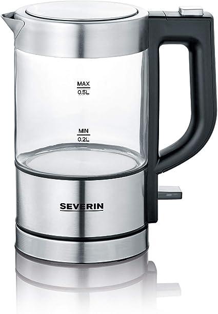 1100 W Severin 3472 Mini Hervidor de Agua Negro Cristal//Acero Inoxidable 0.5 L