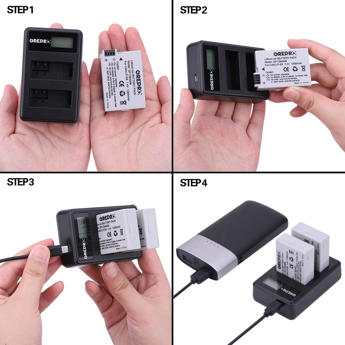 LP-E8 Replacement Battery and Dual USB Charger for Canon EOS 600D,550D,650D,700D,EOS Rebel T3i,T2i,T4i,T5i,Kiss X5,X4,Kiss X6,LC-E8E 2-Pack