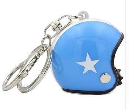 Gran llavero joyas de bolsa casco Moto, Color azul y blanco ...