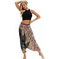Inlefen Women's Yoga Pants high Waist Drop Crotch Loose Summer Hem Belly Dance Special Bloomers Wide Leg Pants