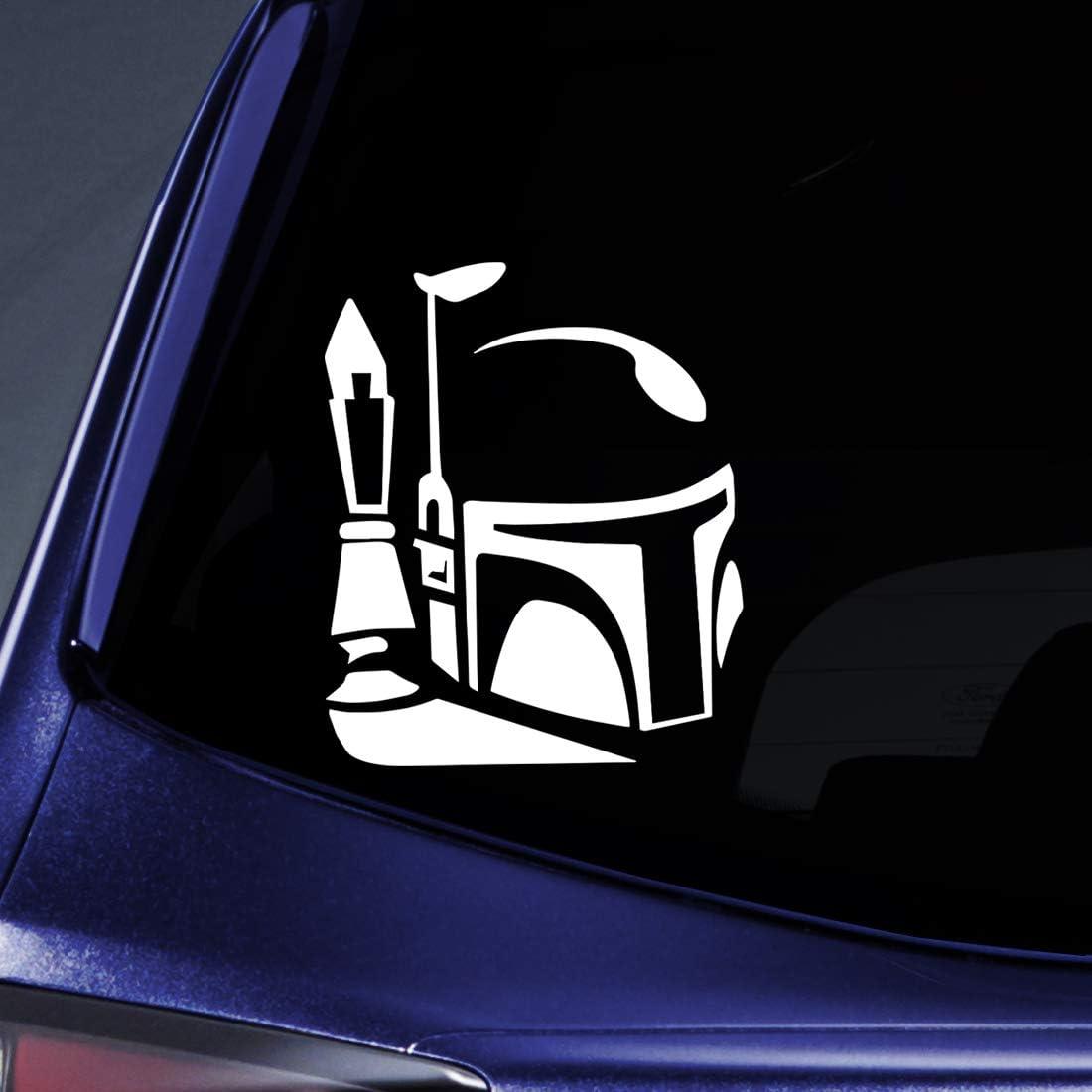 "Bargain Max Decals - Boba Fett Helmet Sticker Decal Notebook Car Laptop 5"" (White)"