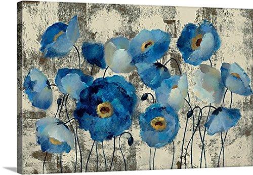 Silvia Vassileva Premium Thick-Wrap Canvas Wall Art Print entitled Aquamarine Floral (Aqua Canvas)