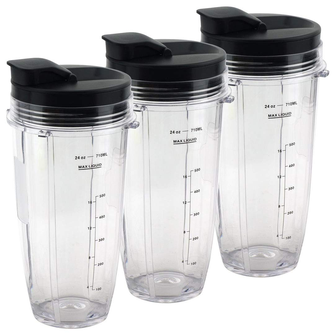 3 Pack 24 oz Cups with Spout Lids Replacement for Nutri Ninja BlendMax DUO with Auto-iQ Boost, Parts 483KKU486 528KKUN10