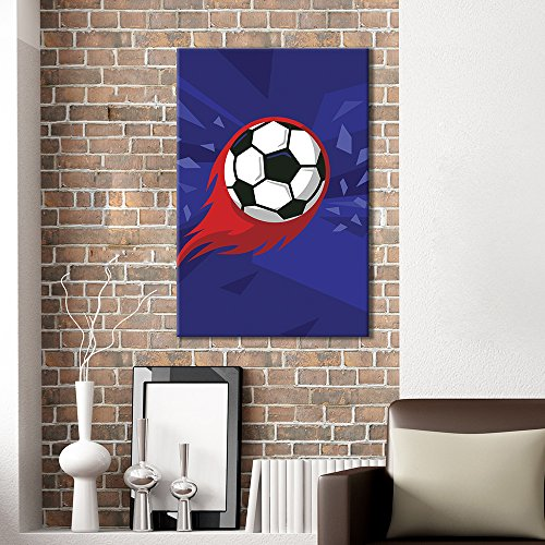 Sports Theme Flying Soccer Fire Blue Background