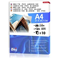 Papel adhesivo blanco PVC polipropileno A4 Hojas de vinilo 1-5-10-15-20-25 para impresoras láser (10)