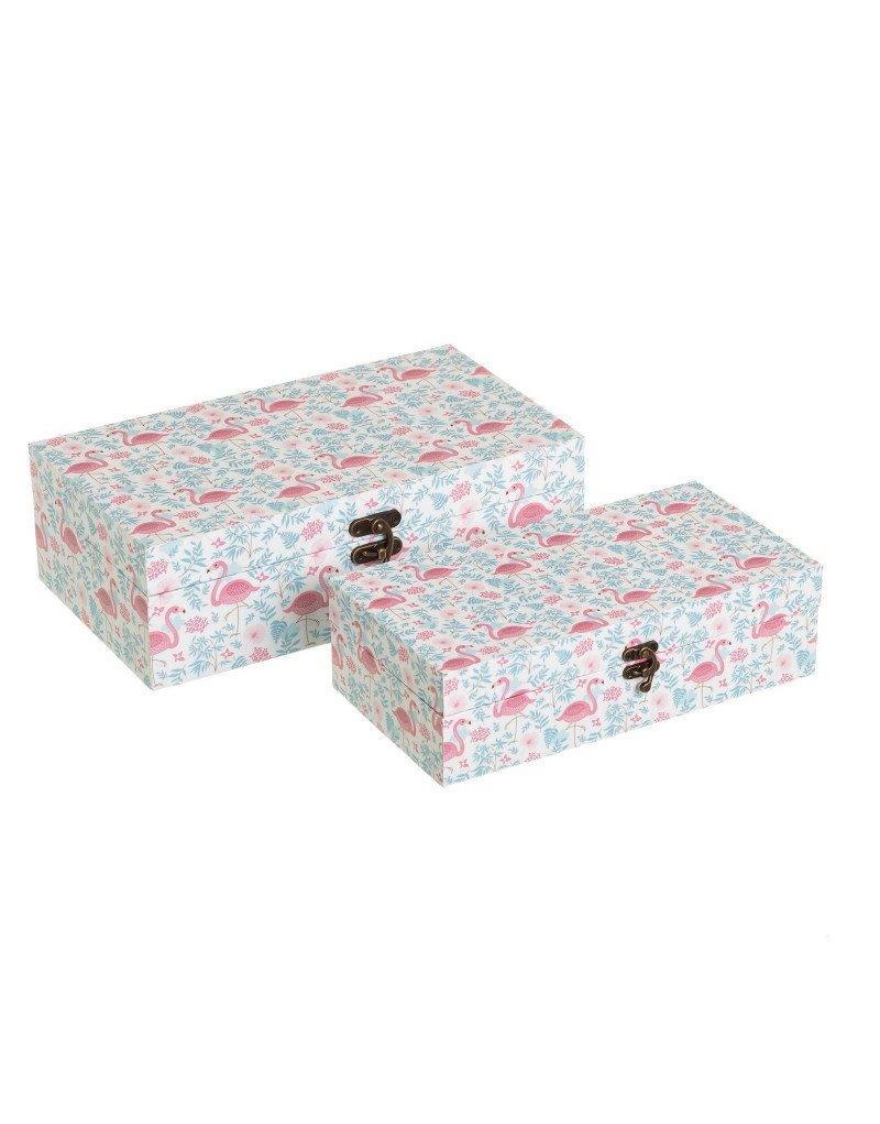Cajas de Madera con Cierre Decoradas con Tela de Lienzo Diseño de Flamencos 2 Unidades Hogar y Más: Amazon.es: Hogar