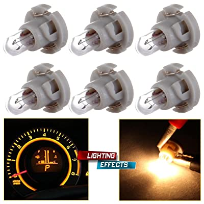 cciyu 6 Pack Warm White T4/T4.2 Neo Wedge Halogen A/C Climate Control Bulb Replacement fit for A/C Climate Control Light: Automotive