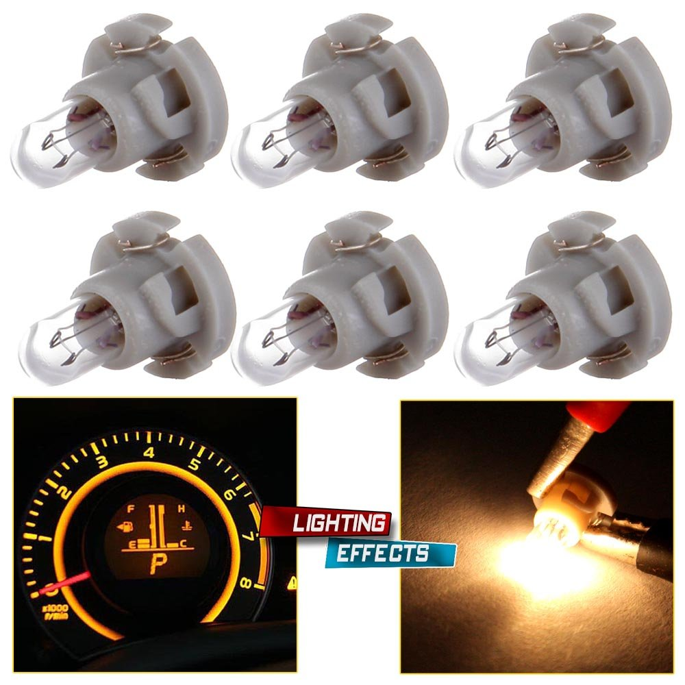 cciyu 6 Pack Warm White T4/T4.2 Neo Wedge Halogen A/C Climate Control Bulb Replacement fit for A/C Climate Control Light