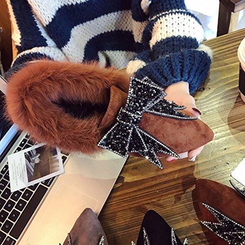 Zapatos de Felpa Única Femenina Arco Nudo Señaló Británica Manga Zapatos Zapatos Zapatos Escarchado , marrón , EUR36.5